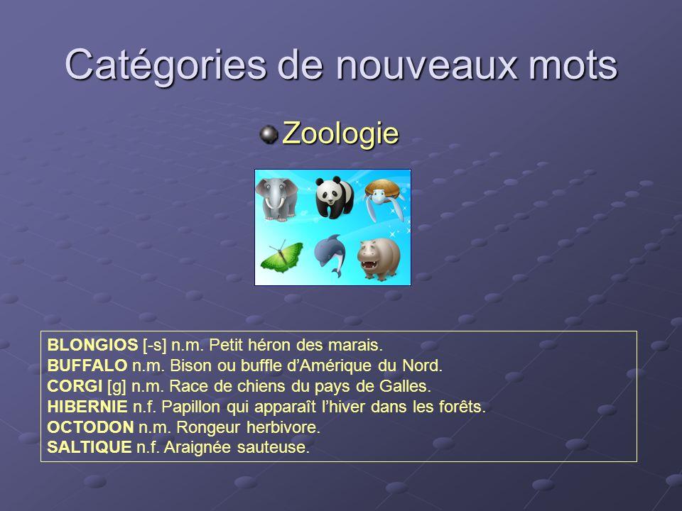Catégories de nouveaux mots Zoologie BLONGIOS [-s] n.m. Petit héron des marais. BUFFALO n.m. Bison ou buffle dAmérique du Nord. CORGI [g] n.m. Race de