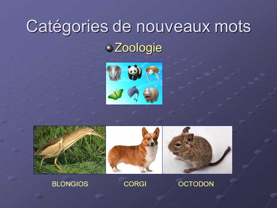 Catégories de nouveaux mots Zoologie BLONGIOSCORGIOCTODON