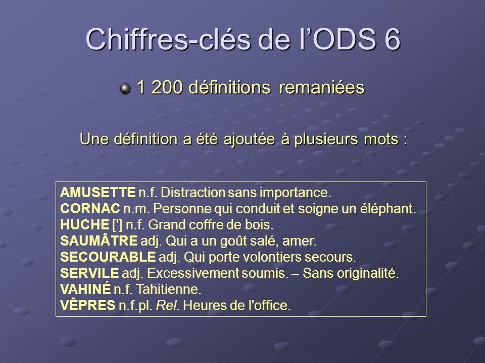 Chiffres-clés de lODS 6 Une définition a été ajoutée à plusieurs mots : AMUSETTE n.f. Distraction sans importance. CORNAC n.m. Personne qui conduit et