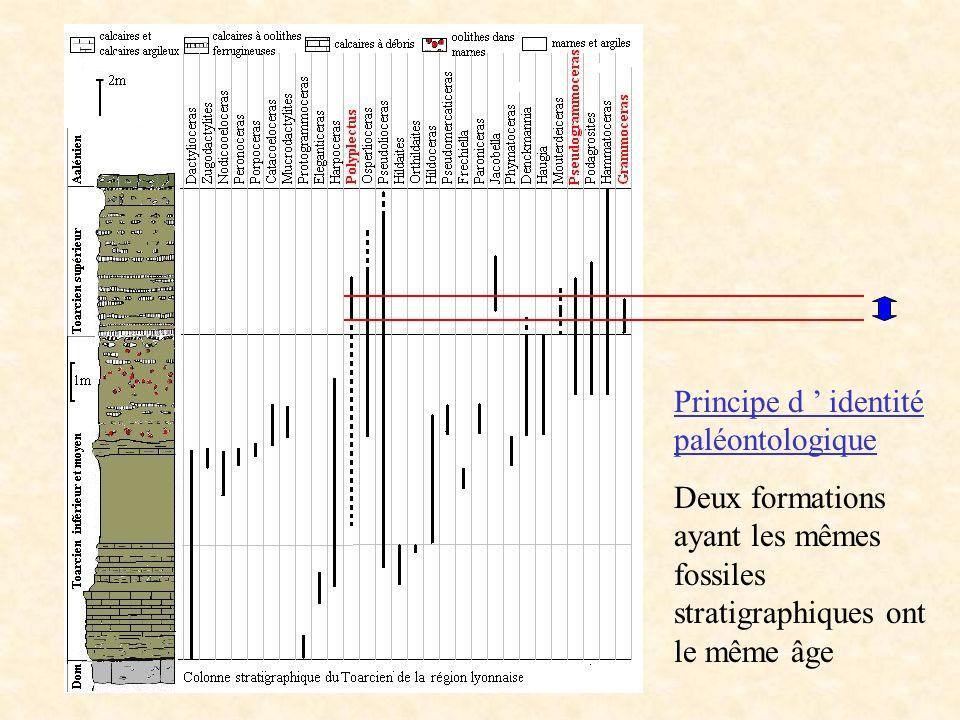 Principe d identité paléontologique Deux formations ayant les mêmes fossiles stratigraphiques ont le même âge