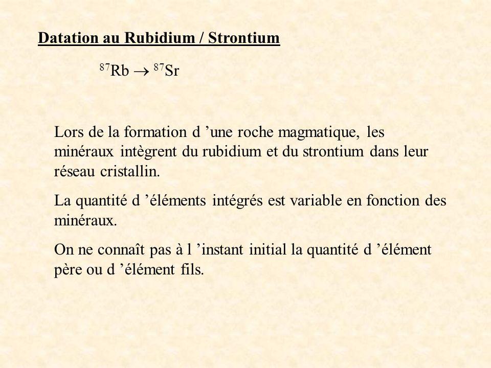 Datation au Rubidium / Strontium 87 Rb 87 Sr Lors de la formation d une roche magmatique, les minéraux intègrent du rubidium et du strontium dans leur