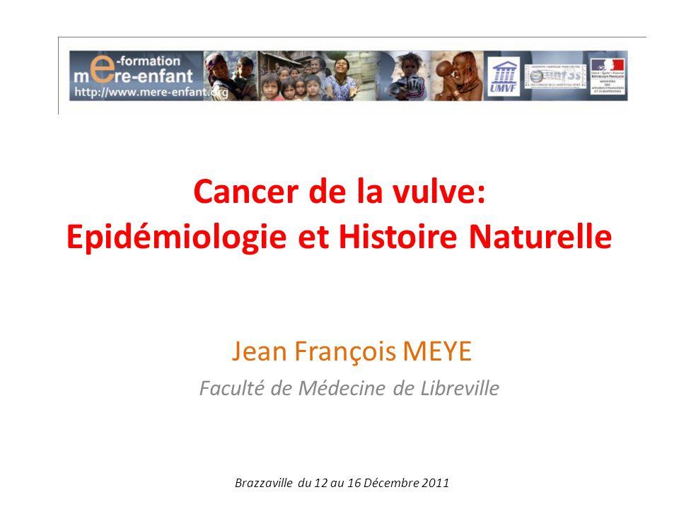 Cancer de la vulve: Epidémiologie et Histoire Naturelle Jean François MEYE Faculté de Médecine de Libreville Brazzaville du 12 au 16 Décembre 2011