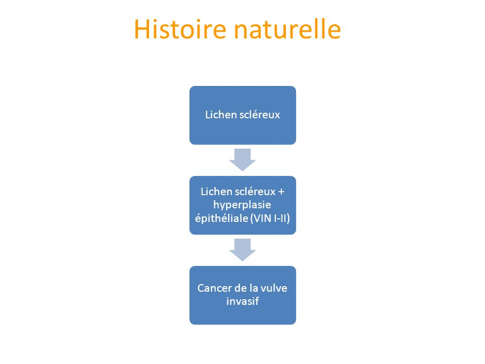 Histoire naturelle Lichen scléreux Lichen scléreux + hyperplasie épithéliale (VIN I-II) Cancer de la vulve invasif