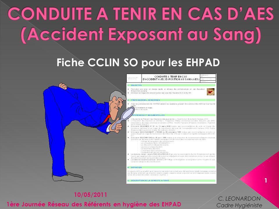 Fiche CCLIN SO pour les EHPAD 10/05/2011 1 1ère Journée Réseau des Référents en hygiène des EHPAD C. LEONARDON Cadre Hygiéniste