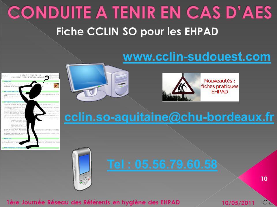 Fiche CCLIN SO pour les EHPAD 10/05/2011 10 1ère Journée Réseau des Référents en hygiène des EHPAD C.L. www.cclin-sudouest.com cclin.so-aquitaine@chu-