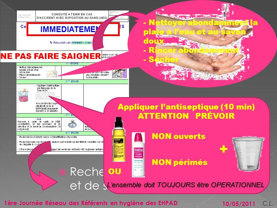 10/05/2011 3 1ère Journée Réseau des Référents en hygiène des EHPAD C.L. IMMEDIATEMENT NE PAS FAIRE SAIGNER En cas de projection (œil, muqueuse …) Pré