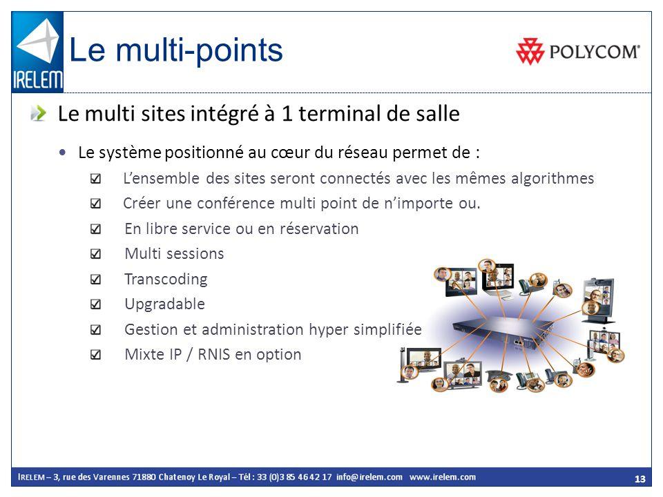13 Le système positionné au cœur du réseau permet de : Lensemble des sites seront connectés avec les mêmes algorithmes Créer une conférence multi poin
