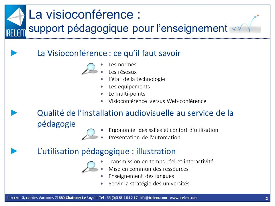 2 La Visioconférence : ce quil faut savoir Qualité de linstallation audiovisuelle au service de la pédagogie Lutilisation pédagogique : illustration L