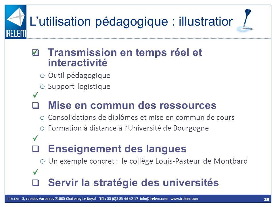 29 Transmission en temps réel et interactivité Outil pédagogique Support logistique Mise en commun des ressources Consolidations de diplômes et mise e