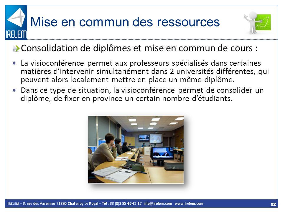 32 La visioconférence permet aux professeurs spécialisés dans certaines matières dintervenir simultanément dans 2 universités différentes, qui peuvent