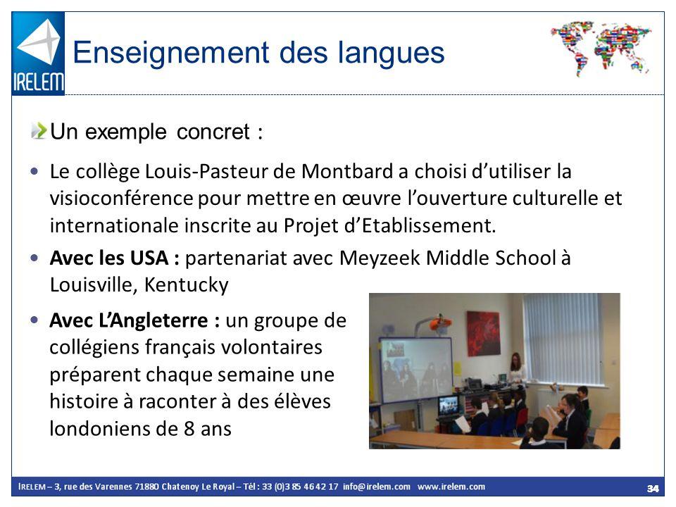 34 Un exemple concret : Enseignement des langues Le collège Louis-Pasteur de Montbard a choisi dutiliser la visioconférence pour mettre en œuvre louve