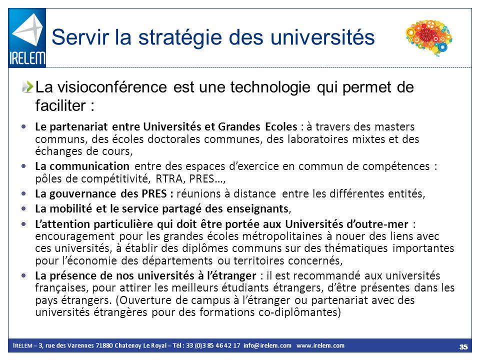 35 Le partenariat entre Universités et Grandes Ecoles : à travers des masters communs, des écoles doctorales communes, des laboratoires mixtes et des