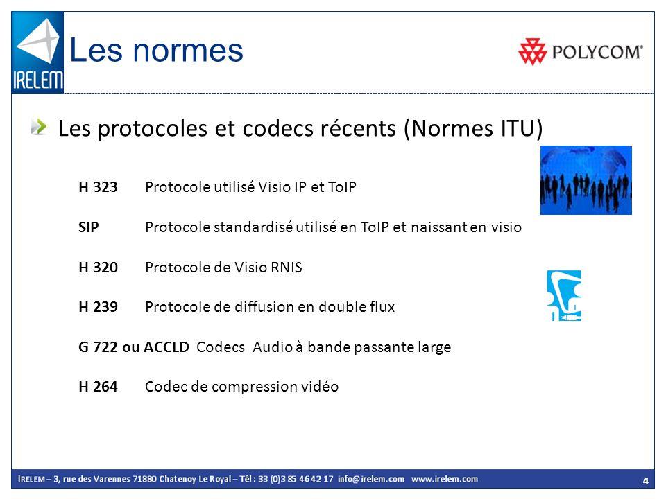 4 H 323 Protocole utilisé Visio IP et ToIP SIPProtocole standardisé utilisé en ToIP et naissant en visio H 320 Protocole de Visio RNIS H 239Protocole