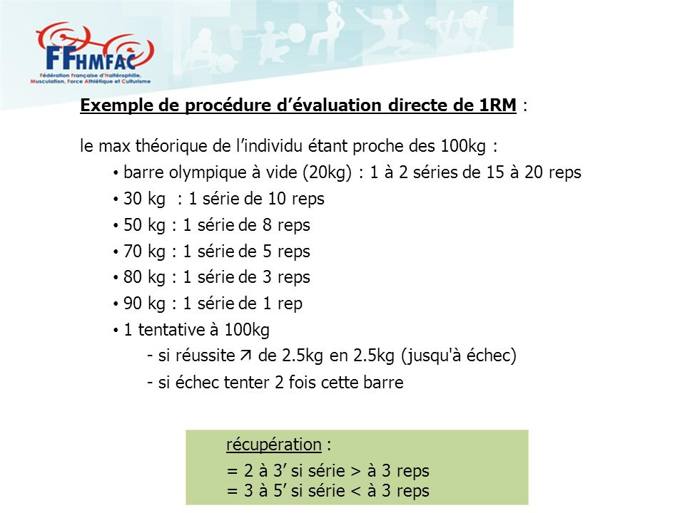 Exemple de procédure dévaluation directe de 1RM : le max théorique de lindividu étant proche des 100kg : barre olympique à vide (20kg) : 1 à 2 séries