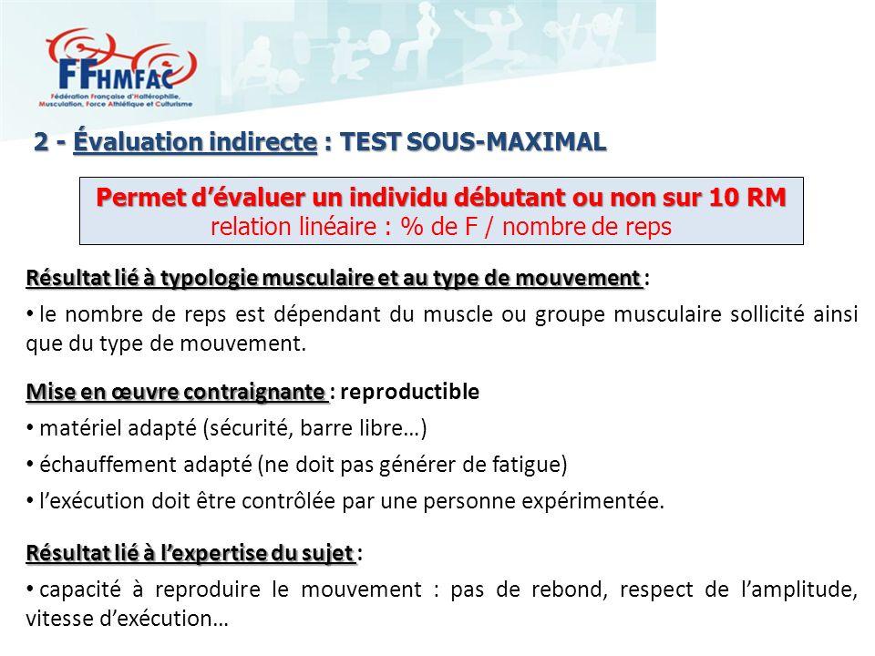 2 - Évaluation indirecte : TEST SOUS-MAXIMAL Mise en œuvre contraignante Mise en œuvre contraignante : reproductible matériel adapté (sécurité, barre