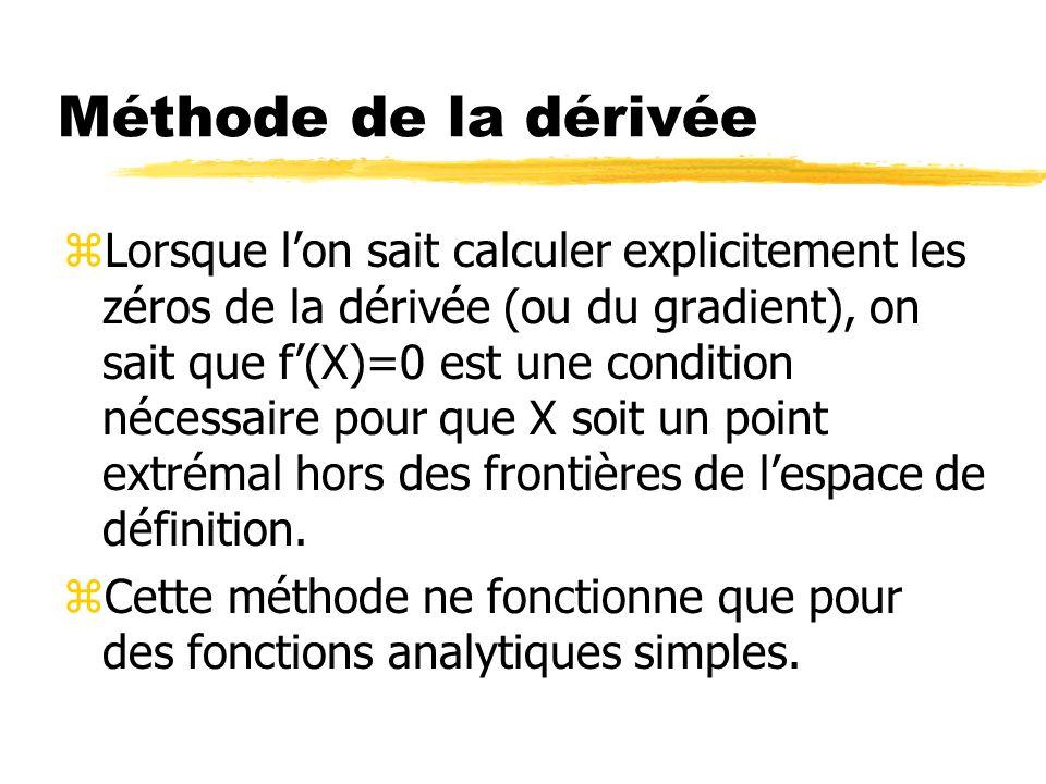 Méthode de la dérivée zLorsque lon sait calculer explicitement les zéros de la dérivée (ou du gradient), on sait que f(X)=0 est une condition nécessai