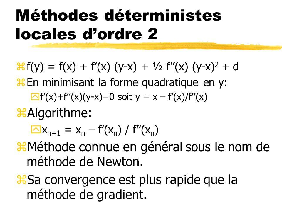 Méthodes déterministes locales dordre 2 zf(y) = f(x) + f(x) (y-x) + ½ f(x) (y-x) 2 + d zEn minimisant la forme quadratique en y: yf(x)+f(x)(y-x)=0 soi