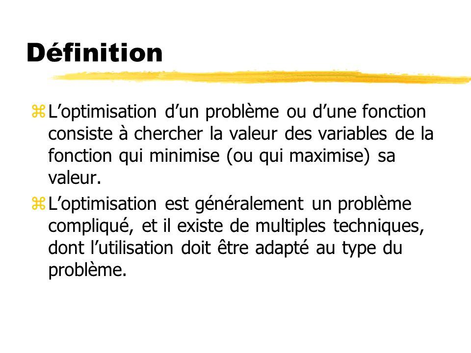 Définition zLoptimisation dun problème ou dune fonction consiste à chercher la valeur des variables de la fonction qui minimise (ou qui maximise) sa v