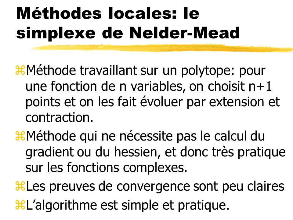 Méthodes locales: le simplexe de Nelder-Mead zMéthode travaillant sur un polytope: pour une fonction de n variables, on choisit n+1 points et on les f