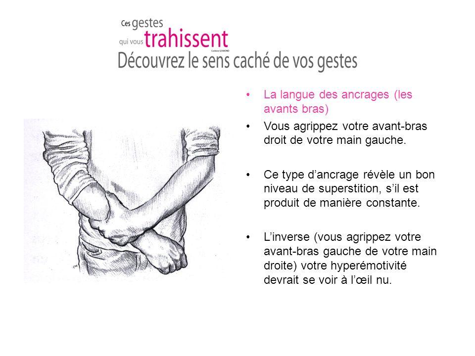 La langue des ancrages (les avants bras) Vous agrippez votre avant-bras droit de votre main gauche.