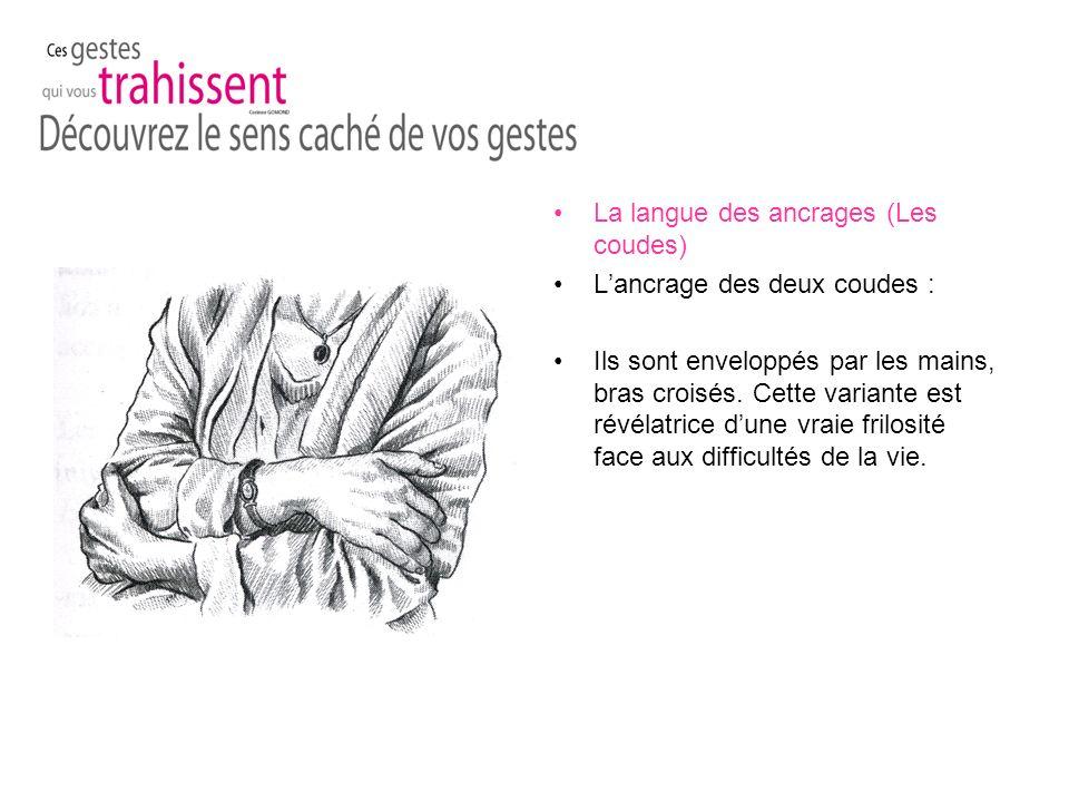 La langue des ancrages (Les coudes) Lancrage des deux coudes : Ils sont enveloppés par les mains, bras croisés.