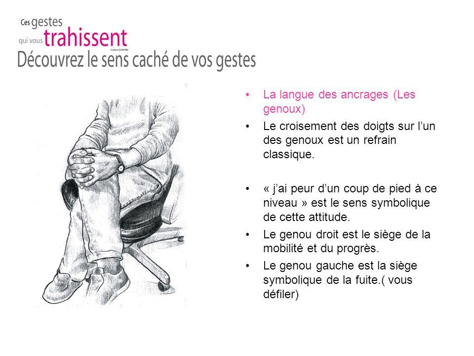 La langue des ancrages (Les genoux) Le croisement des doigts sur lun des genoux est un refrain classique.