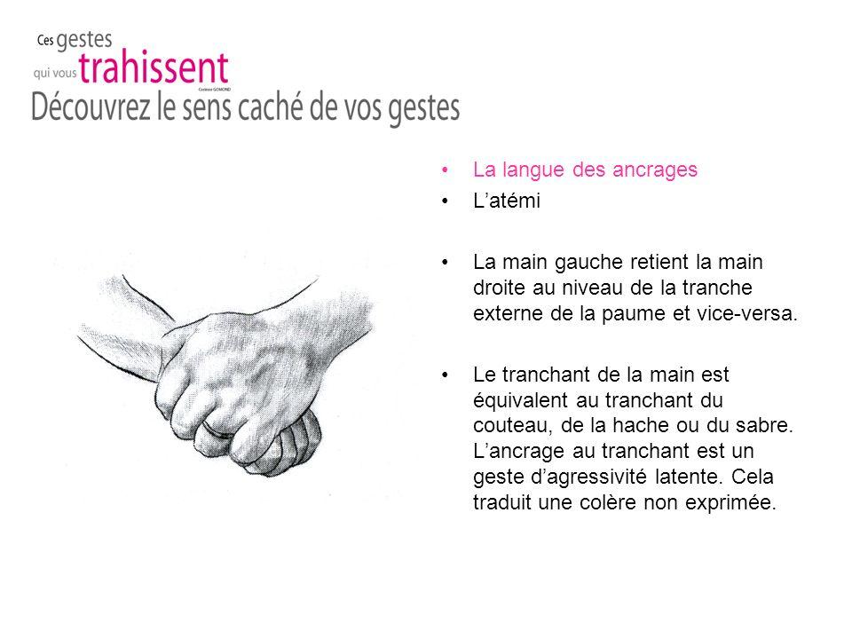 La langue des ancrages Latémi La main gauche retient la main droite au niveau de la tranche externe de la paume et vice-versa.