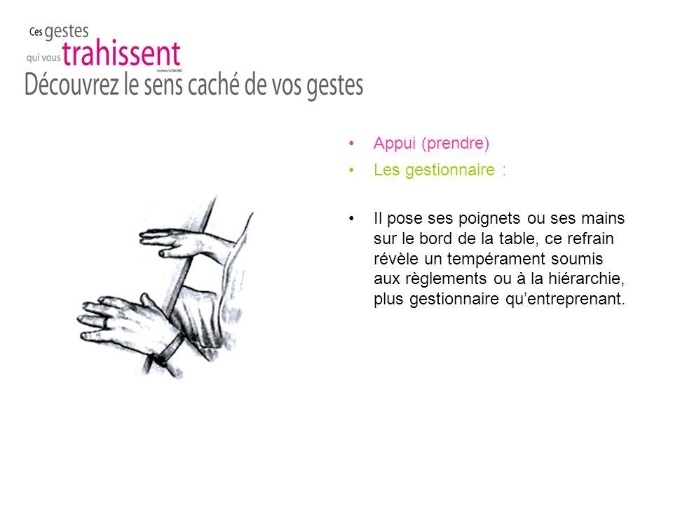 Appui (prendre) Les gestionnaire : Il pose ses poignets ou ses mains sur le bord de la table, ce refrain révèle un tempérament soumis aux règlements ou à la hiérarchie, plus gestionnaire quentreprenant.