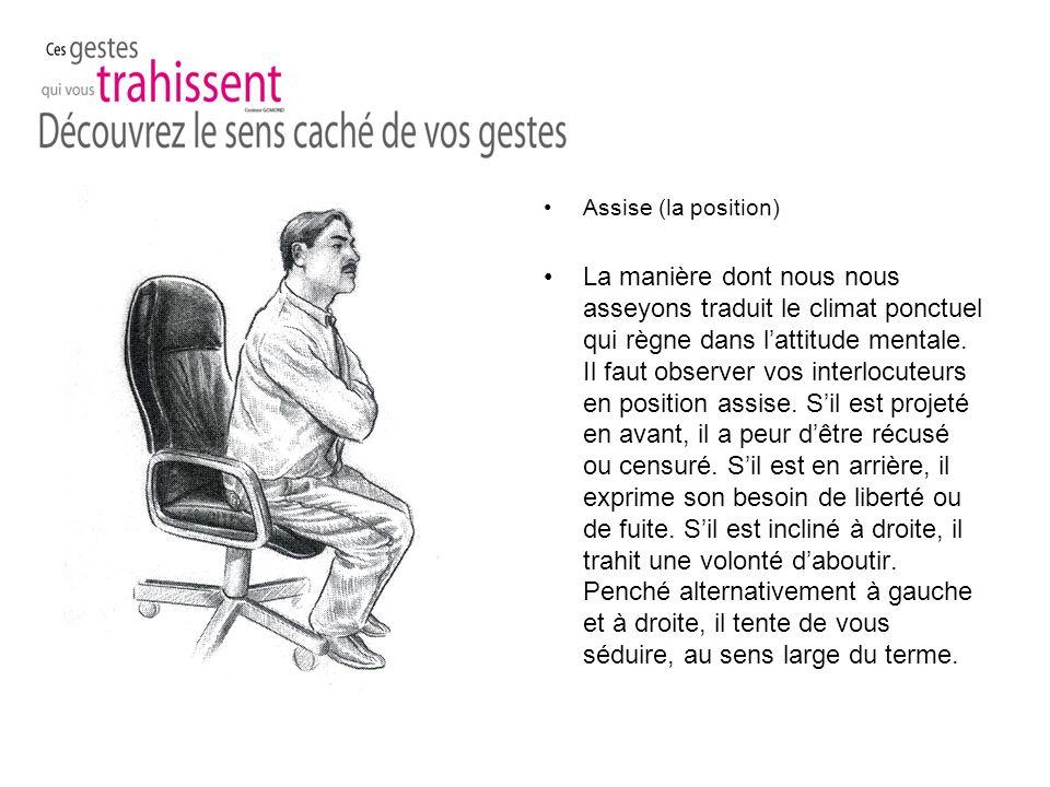 Assise (la position) La manière dont nous nous asseyons traduit le climat ponctuel qui règne dans lattitude mentale.
