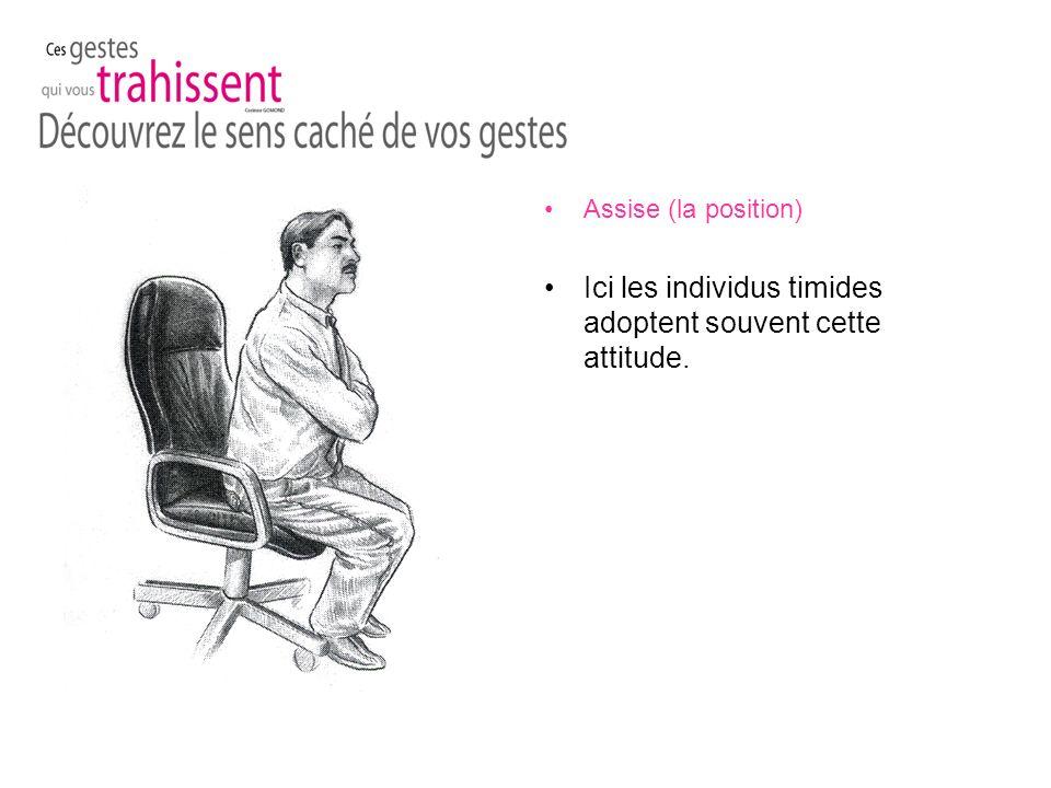 Assise (la position) Ici les individus timides adoptent souvent cette attitude.