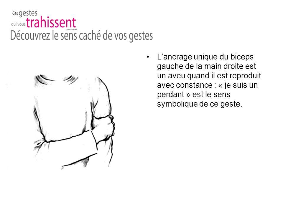 Lancrage unique du biceps gauche de la main droite est un aveu quand il est reproduit avec constance : « je suis un perdant » est le sens symbolique de ce geste.