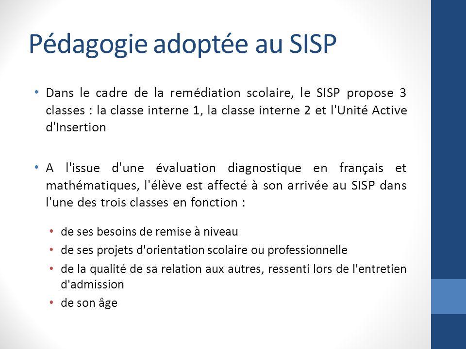Pédagogie adoptée au SISP Dans le cadre de la remédiation scolaire, le SISP propose 3 classes : la classe interne 1, la classe interne 2 et l'Unité Ac