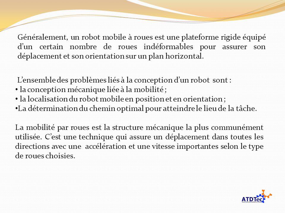 Lensemble des problèmes liés à la conception dun robot sont : la conception mécanique liée à la mobilité ; la localisation du robot mobile en position