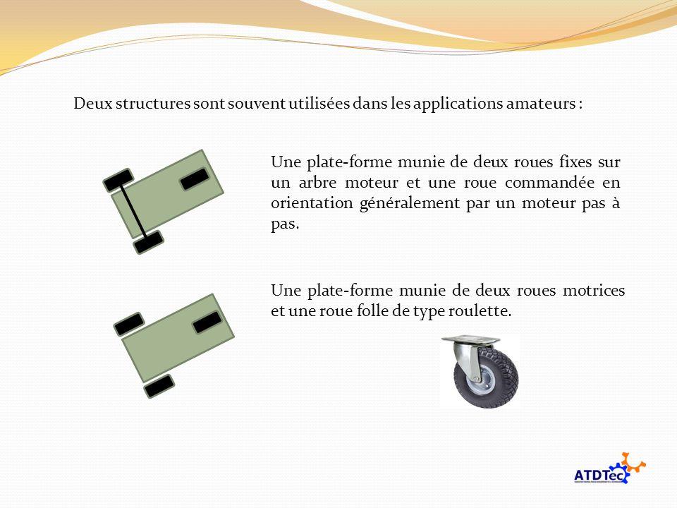 Deux structures sont souvent utilisées dans les applications amateurs : Une plate-forme munie de deux roues fixes sur un arbre moteur et une roue comm