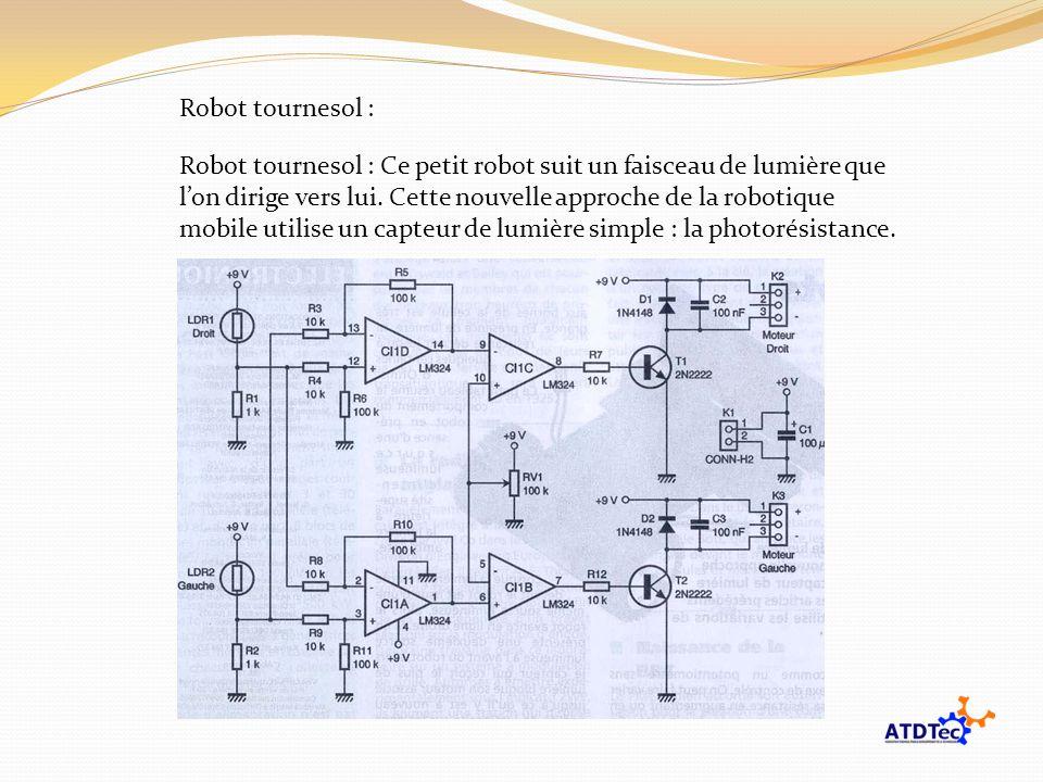 Robot tournesol : Robot tournesol : Ce petit robot suit un faisceau de lumière que lon dirige vers lui. Cette nouvelle approche de la robotique mobile