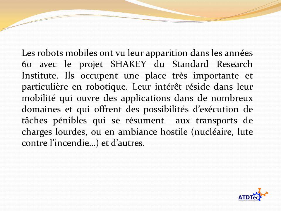 Les robots mobiles ont vu leur apparition dans les années 60 avec le projet SHAKEY du Standard Research Institute. Ils occupent une place très importa
