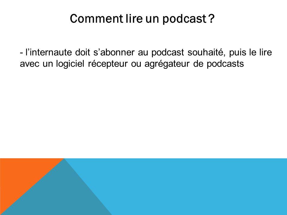 Comment lire un podcast ? - linternaute doit sabonner au podcast souhaité, puis le lire avec un logiciel récepteur ou agrégateur de podcasts