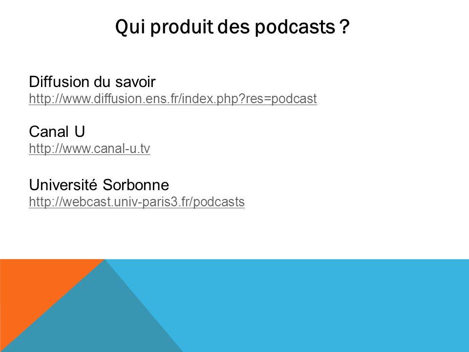 Qui produit des podcasts ? Diffusion du savoir http://www.diffusion.ens.fr/index.php?res=podcast Canal U http://www.canal-u.tv http://www.canal-u.tv U