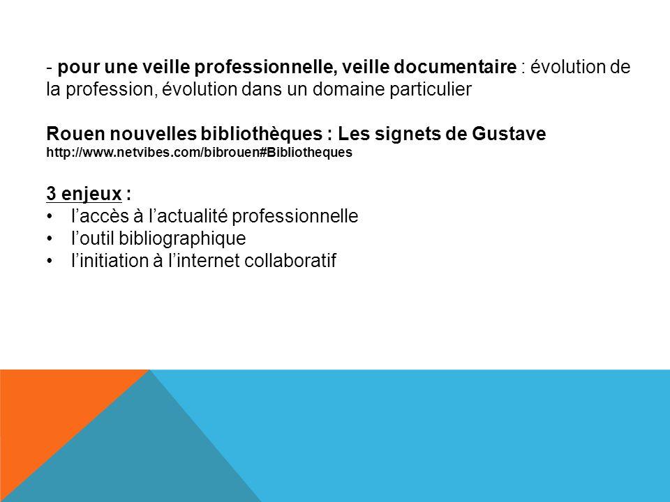 - pour une veille professionnelle, veille documentaire : évolution de la profession, évolution dans un domaine particulier Rouen nouvelles bibliothèqu
