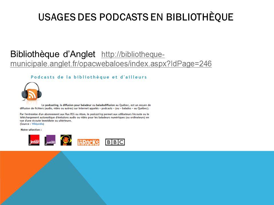 USAGES DES PODCASTS EN BIBLIOTHÈQUE Bibliothèque dAnglet http://bibliotheque- municipale.anglet.fr/opacwebaloes/index.aspx?IdPage=246 http://bibliothe