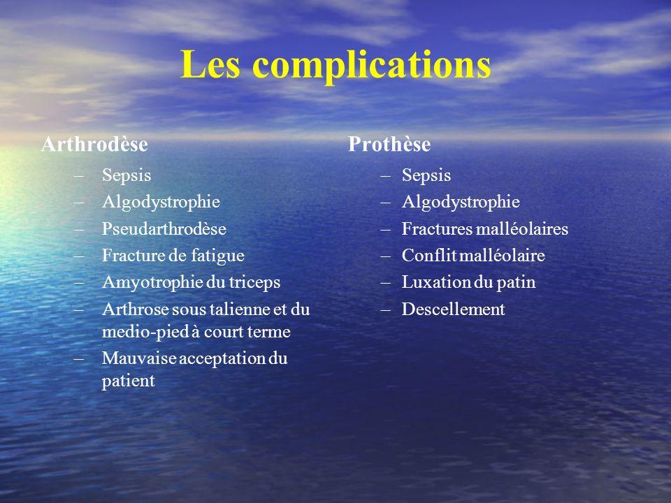 Les complications Arthrodèse –Sepsis –Algodystrophie –Pseudarthrodèse –Fracture de fatigue –Amyotrophie du triceps –Arthrose sous talienne et du medio