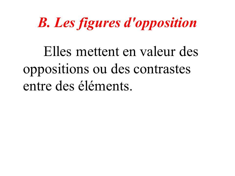 B. Les figures d'opposition Elles mettent en valeur des oppositions ou des contrastes entre des éléments.