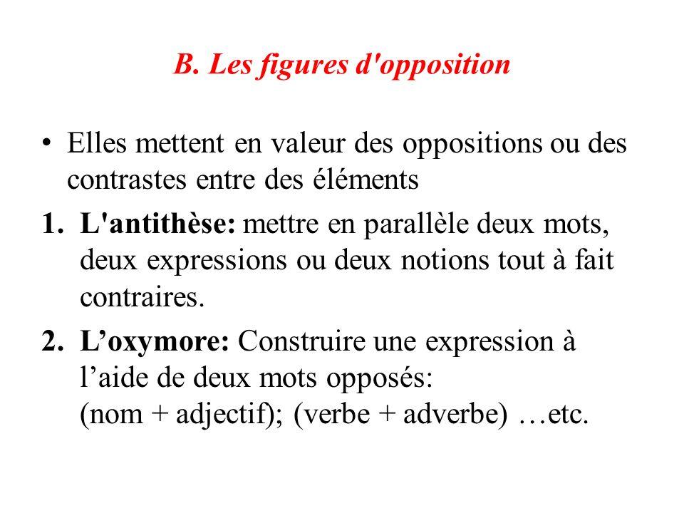 B. Les figures d'opposition Elles mettent en valeur des oppositions ou des contrastes entre des éléments 1.L'antithèse: mettre en parallèle deux mots,