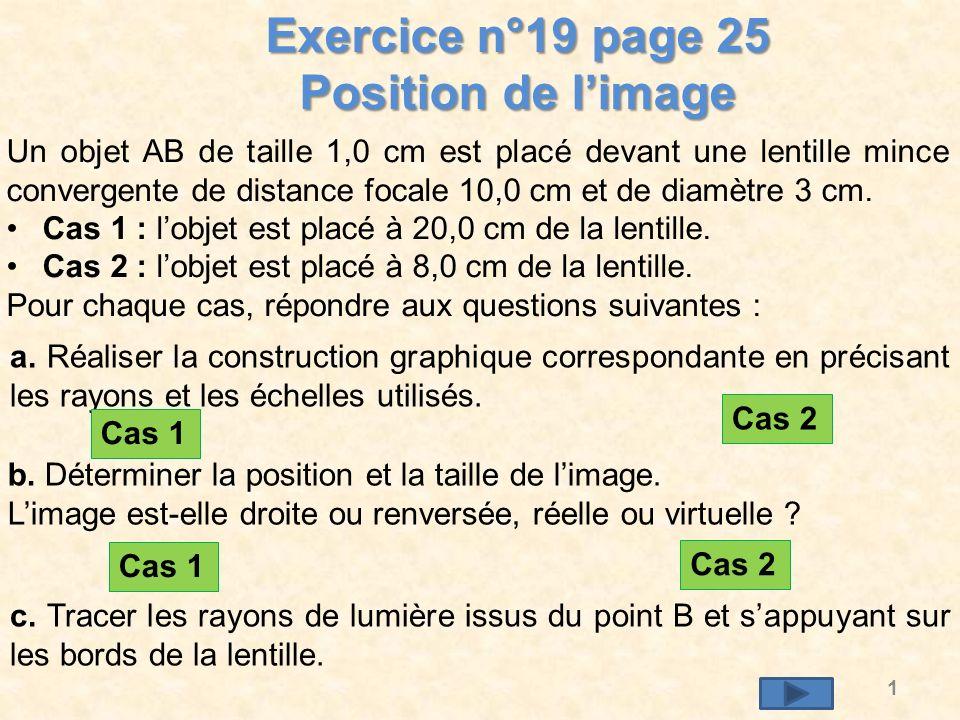 2 O F F A B Choix de léchelle : verticalement : 2 cm représentent 1 cm horizontalement : 1 cm représente 2 cm Tracer laxe optique.