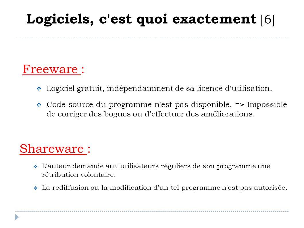 Freeware : Logiciel gratuit, indépendamment de sa licence d'utilisation. Code source du programme n'est pas disponible, => Impossible de corriger des