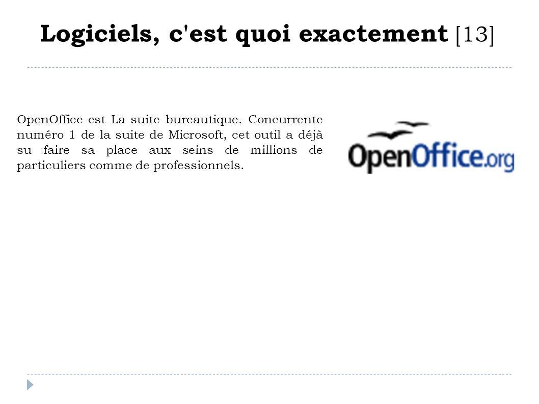 Logiciels, c'est quoi exactement [13] OpenOffice est La suite bureautique. Concurrente numéro 1 de la suite de Microsoft, cet outil a déjà su faire sa