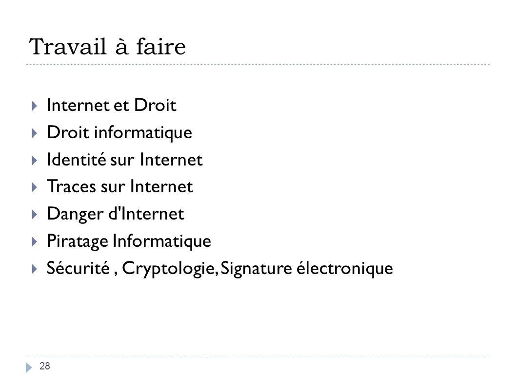 Travail à faire Internet et Droit Droit informatique Identité sur Internet Traces sur Internet Danger d'Internet Piratage Informatique Sécurité, Crypt