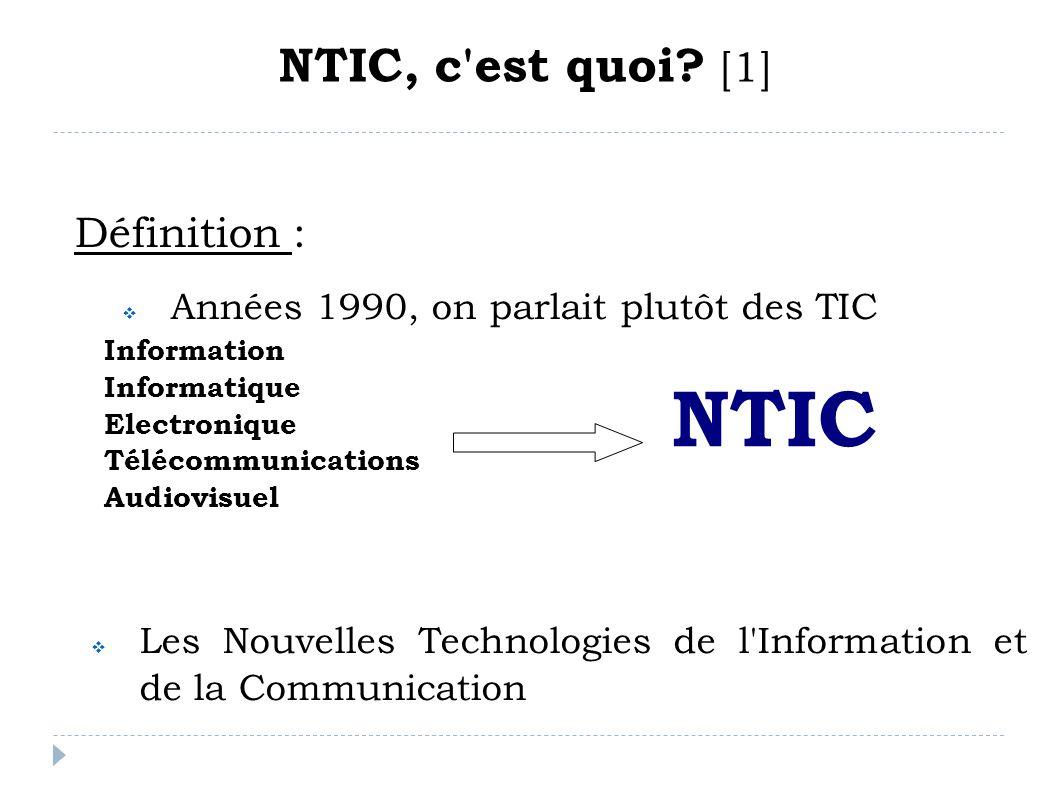 Définition : Années 1990, on parlait plutôt des TIC Information Informatique Electronique Télécommunications Audiovisuel NTIC Les Nouvelles Technologi