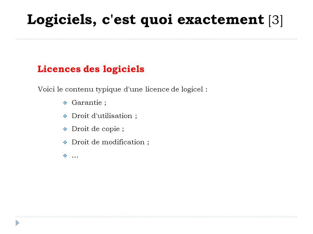 Licences des logiciels Logiciels, c'est quoi exactement [3] Voici le contenu typique d'une licence de logicel : Garantie ; Droit d'utilisation ; Droit