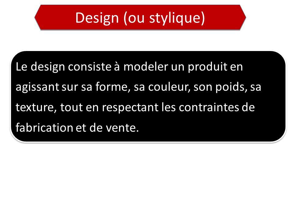 Le design consiste à modeler un produit en agissant sur sa forme, sa couleur, son poids, sa texture, tout en respectant les contraintes de fabrication et de vente.